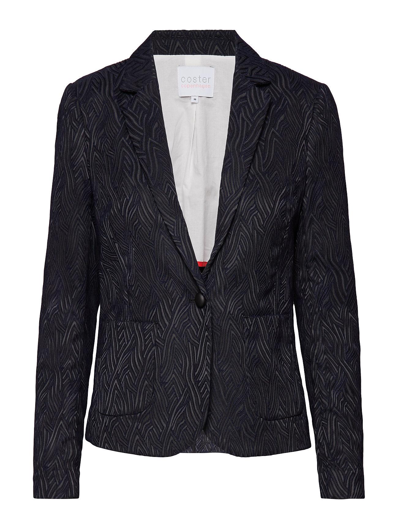 Coster Copenhagen Jacket in wave jacquard stretch w. - BLACK