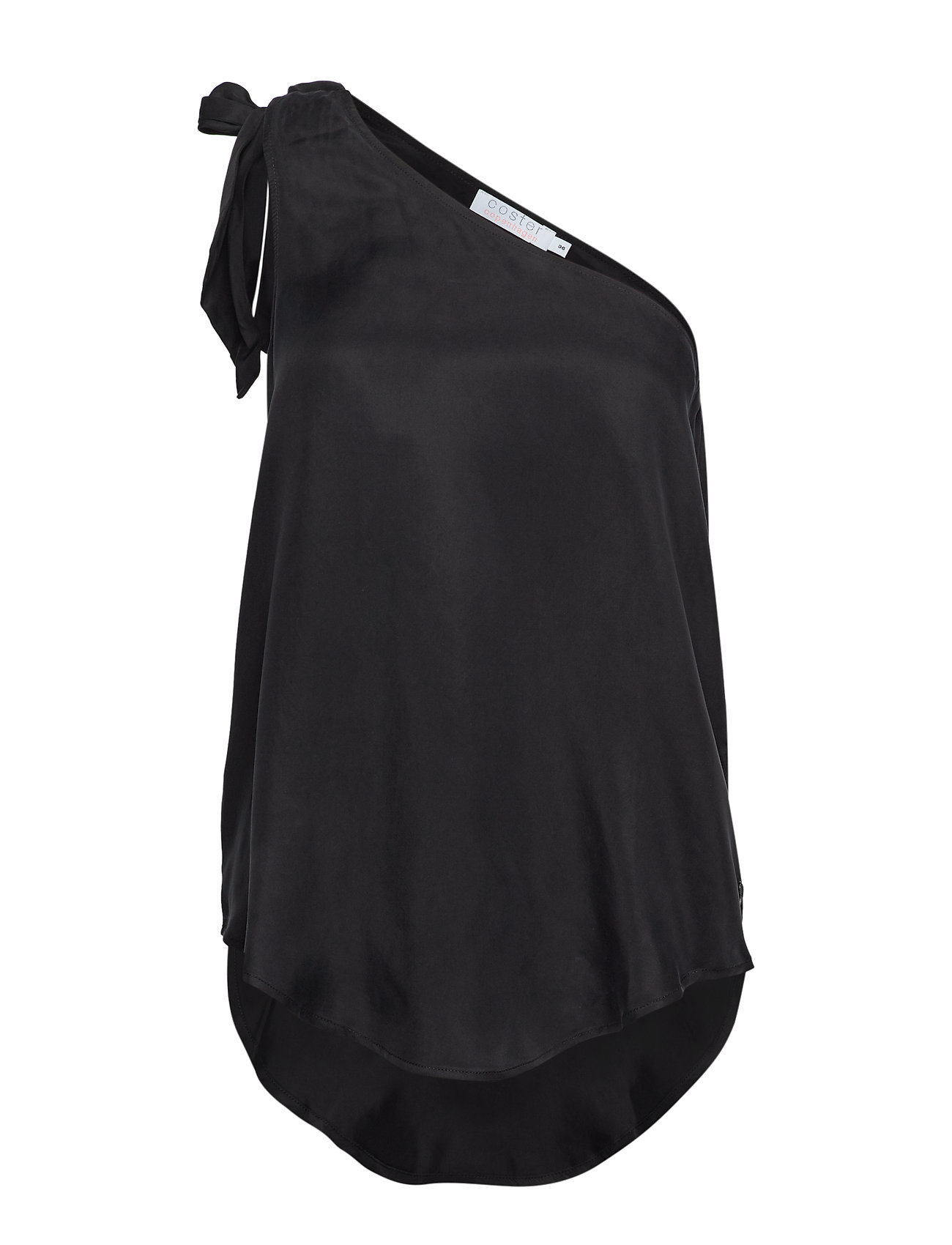 Coster Copenhagen Top w. one-shoulder and bow - BLACK