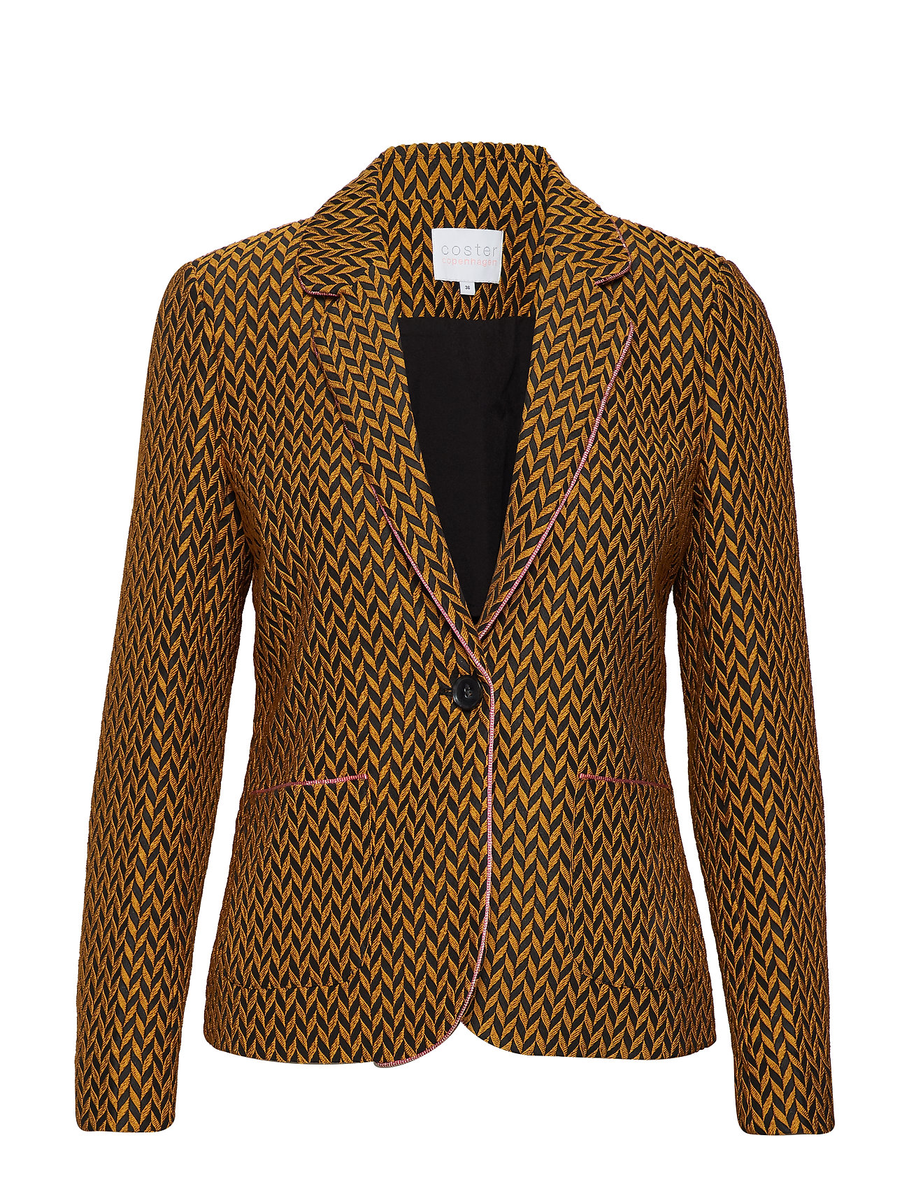 Coster Copenhagen Suit jacket w. pipings in jacquard - GOLD SPICE