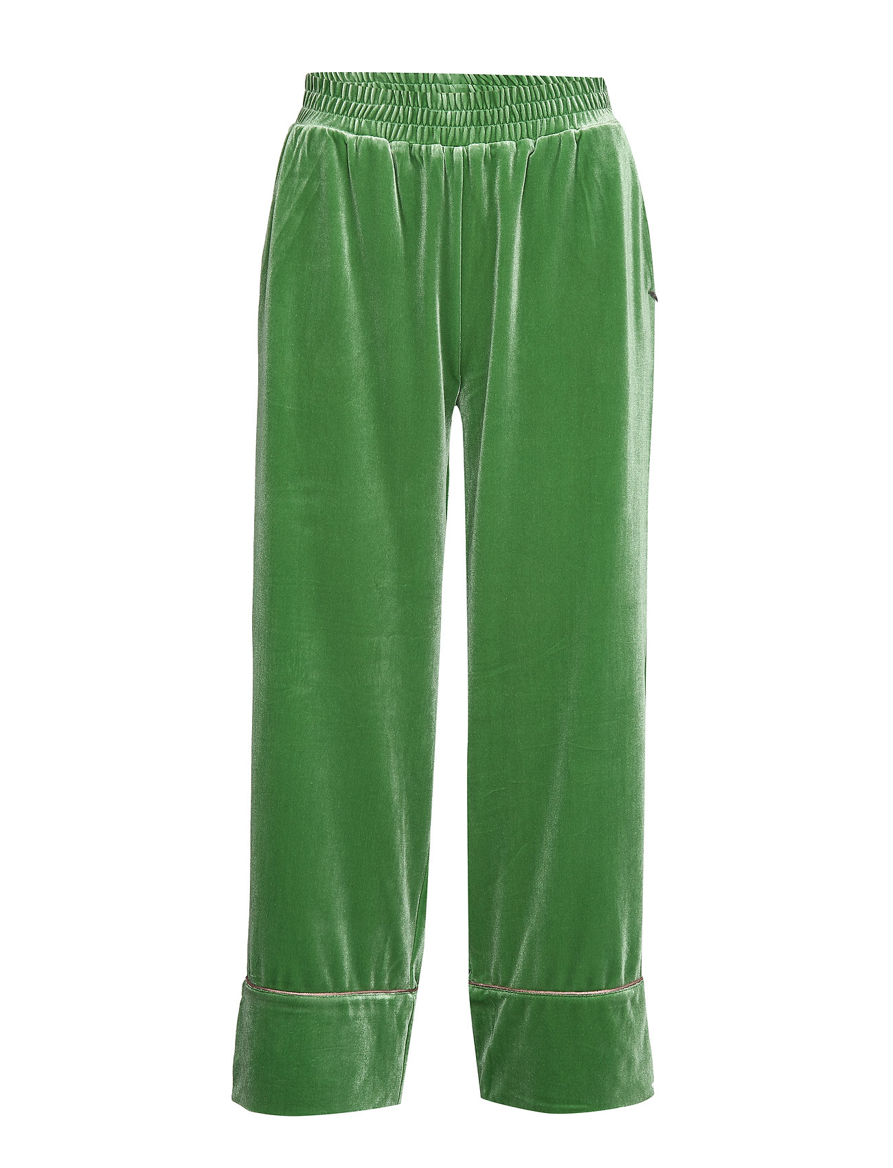 Coster Copenhagen Pants in velour w. piping - FORREST GREEN