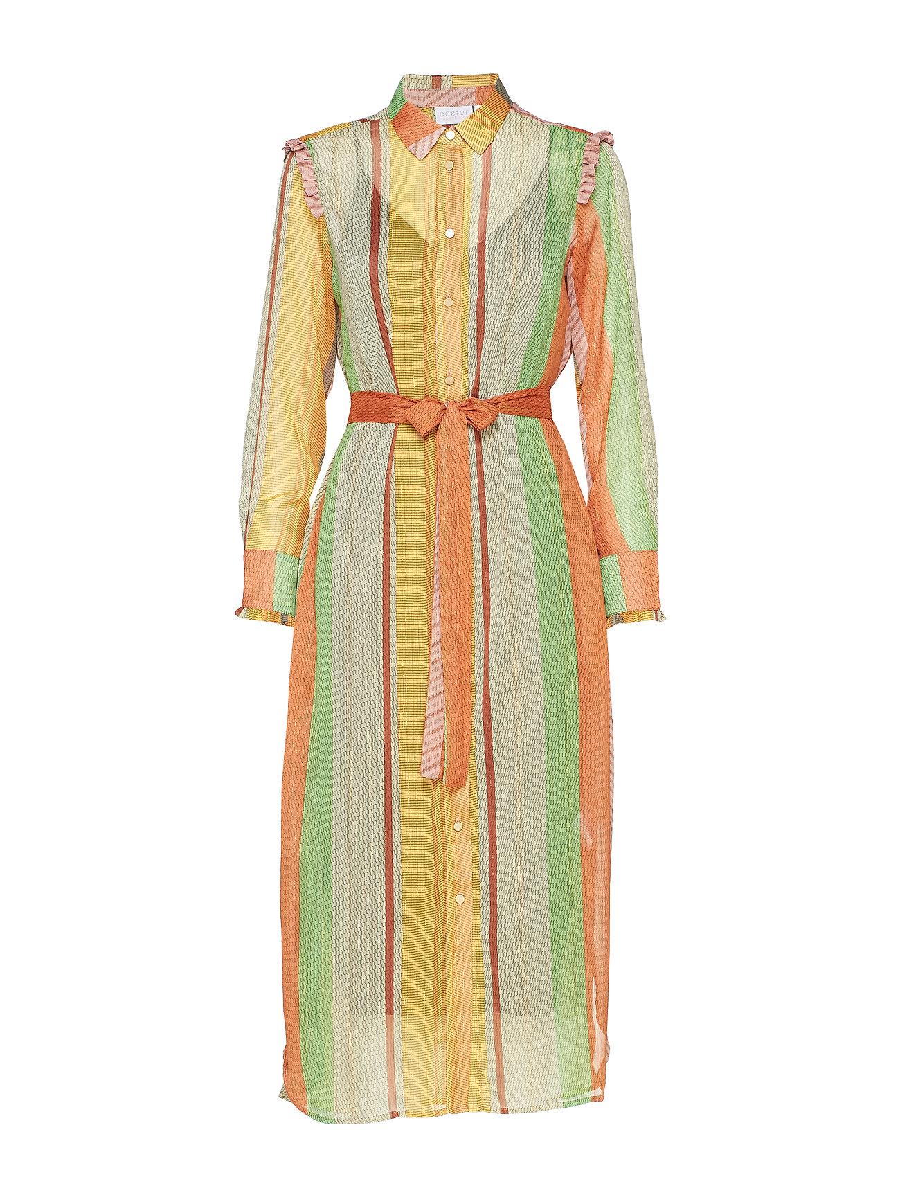 Coster Copenhagen Dress w. ruffles stroke print w. lu - STROKE PRINT