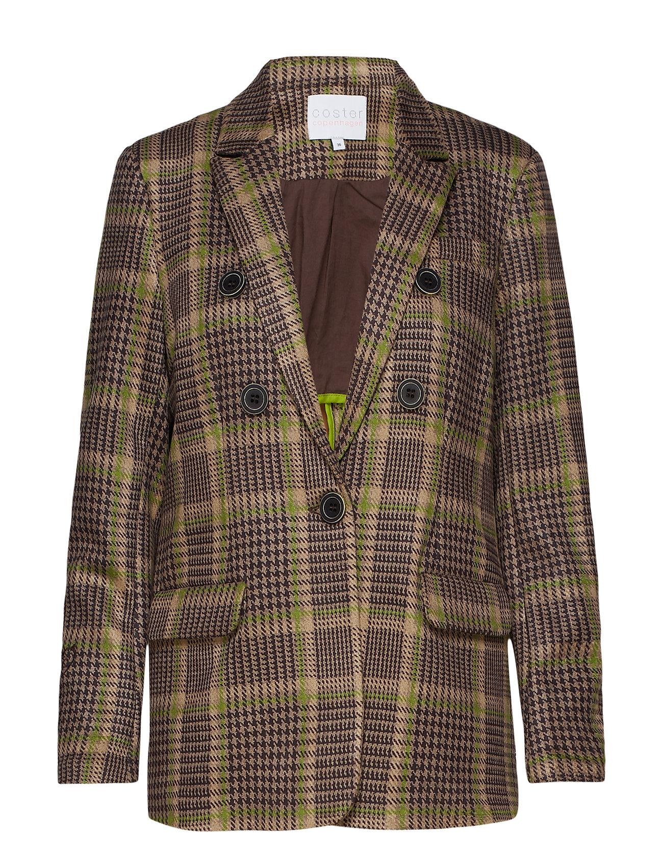 Coster Copenhagen Suit jacket in checked scuba - MOSS CHECK