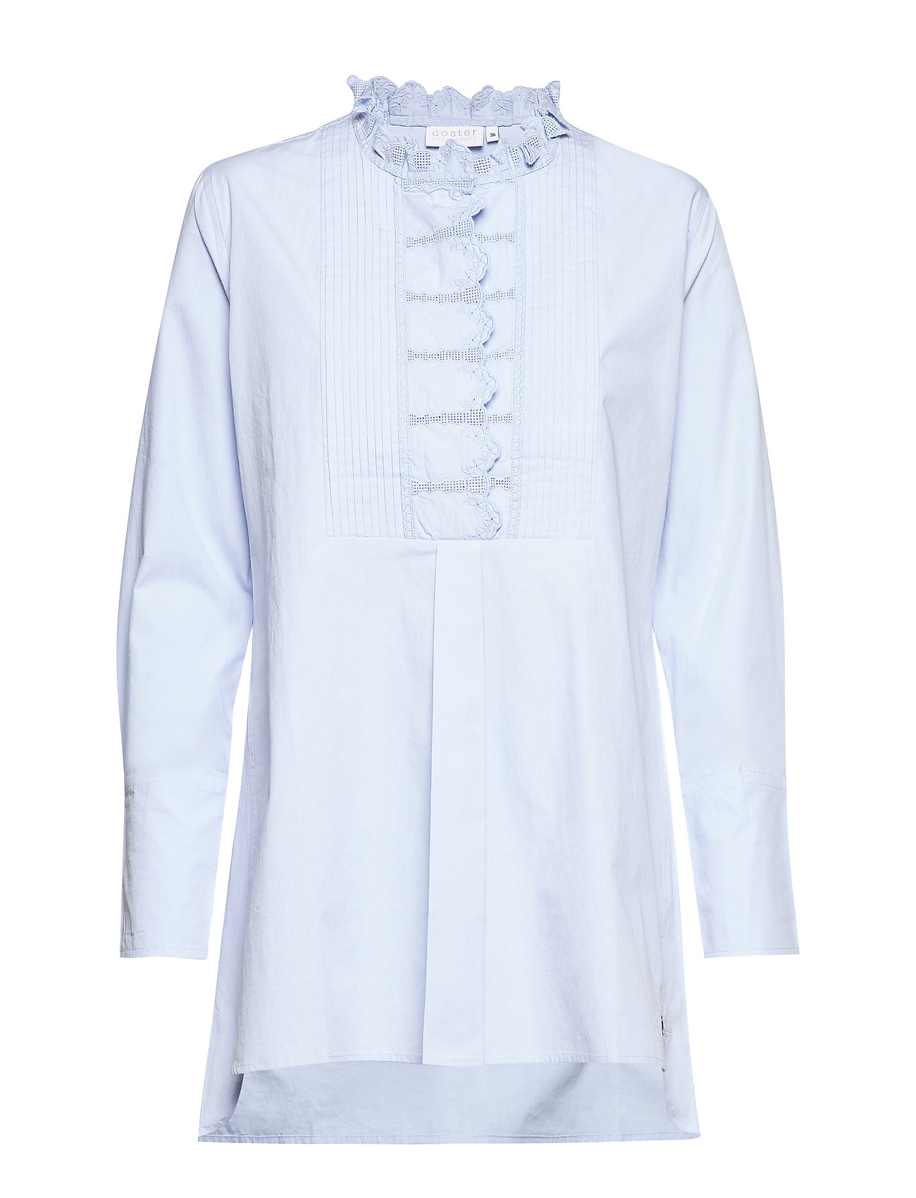 Coster Copenhagen Blouse w. lace detail at chest and - POWDER BLUE