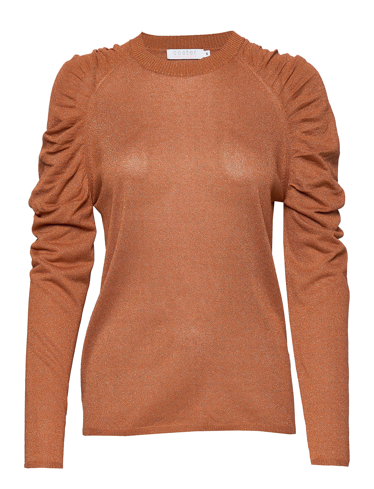 Coster Copenhagen Knit in lurex w. volume at shoulder - CAMEL
