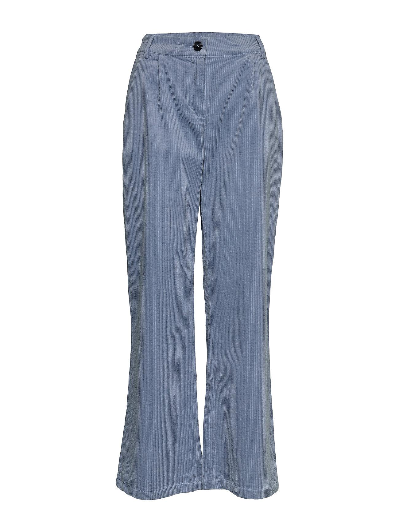 Coster Copenhagen Pants in cordery w. press folds - SHADOW BLUE