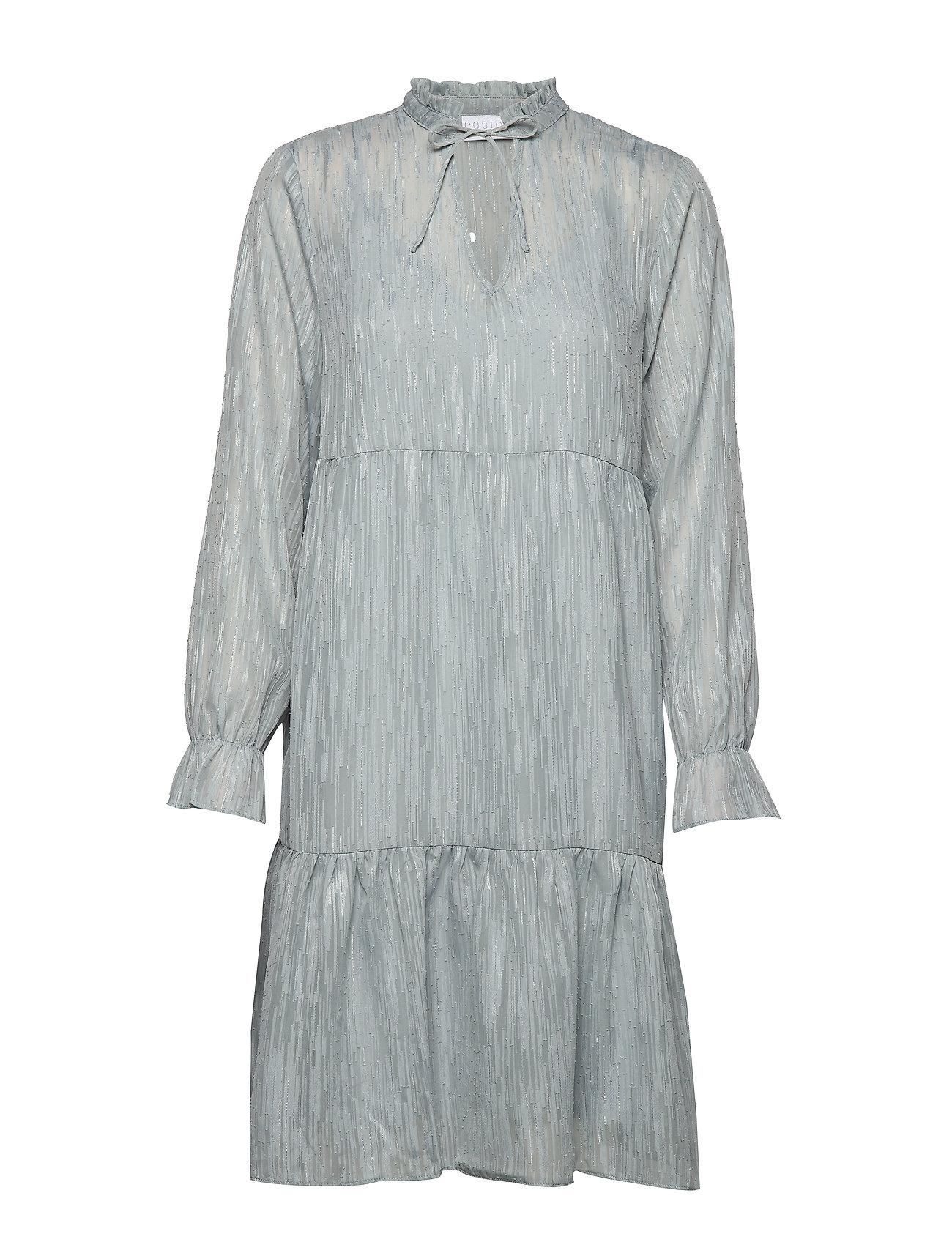 Coster Copenhagen Dress long sleeved w. frill at neck - SHADOW BLUE