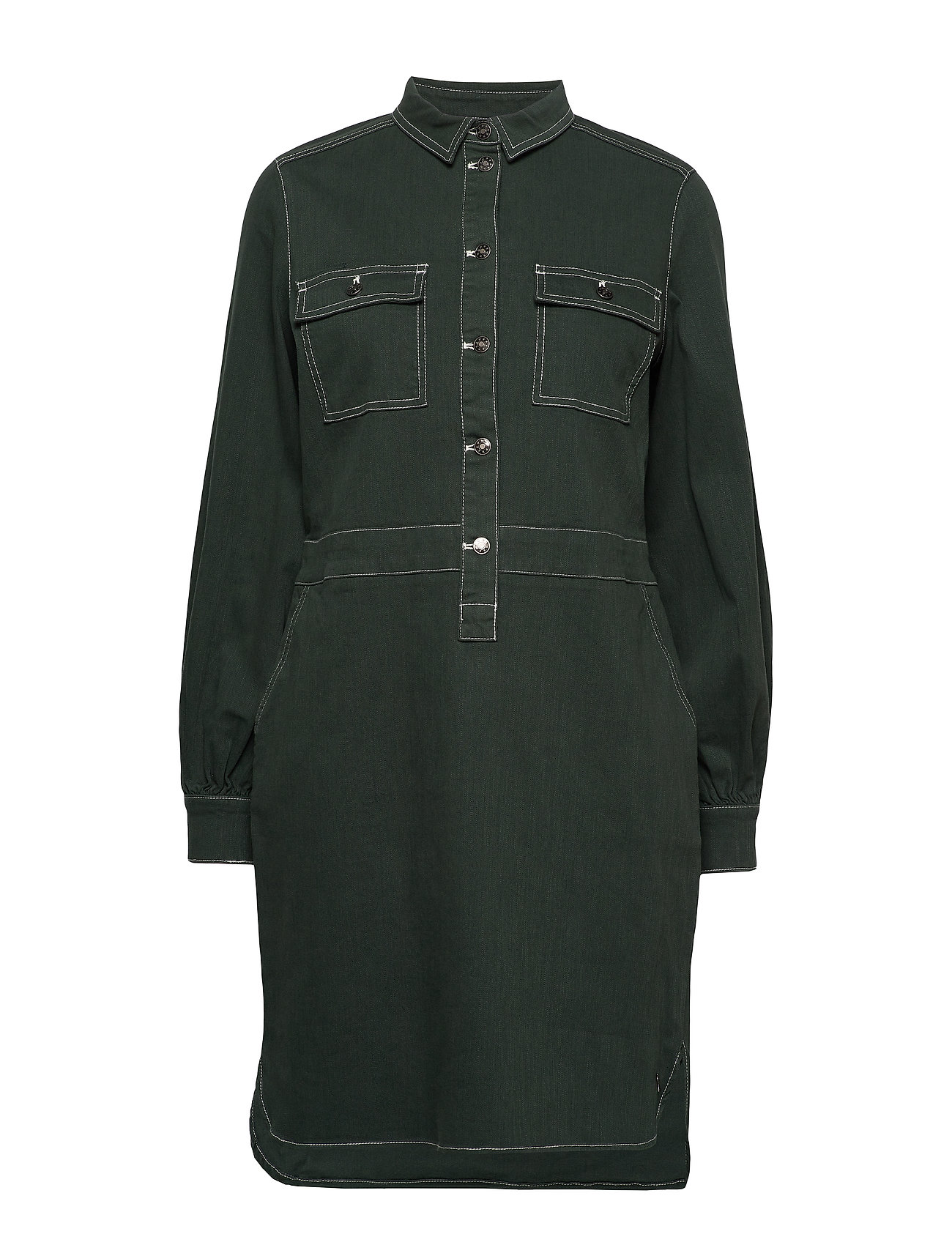 Coster Copenhagen Dress w. long sleeves - DARK GREEN