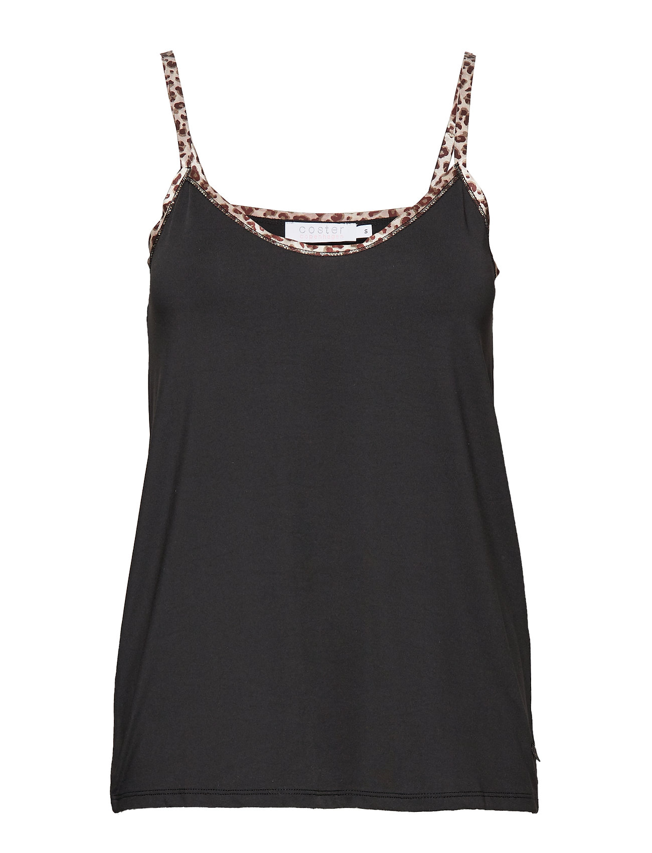 Coster Copenhagen Strap top w. leopard tape - BLACK