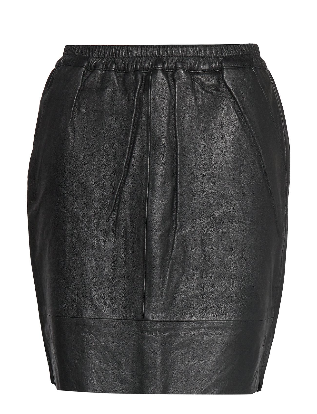 Coster Copenhagen Leather skirt w. elastic in waist - BLACK