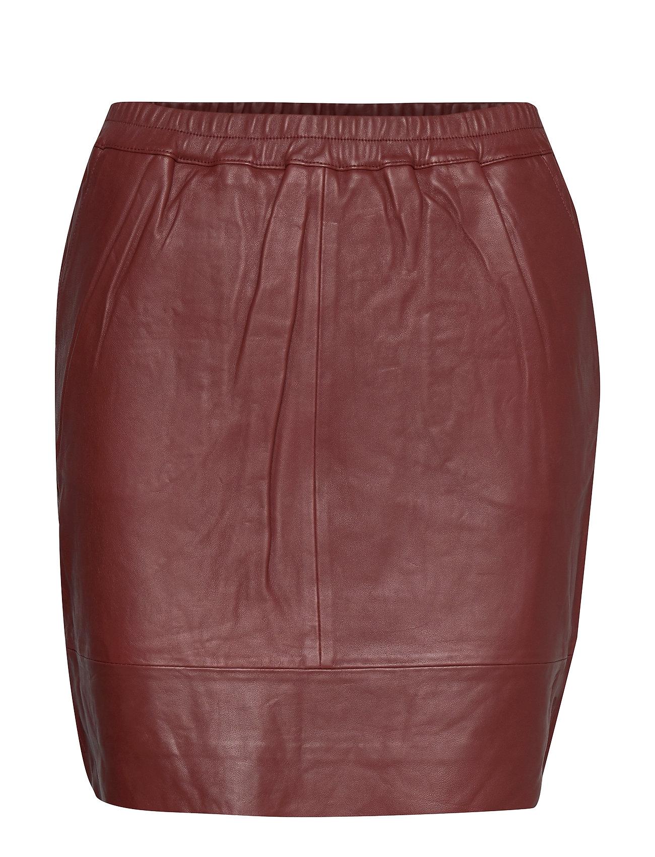 Coster Copenhagen Leather skirt w. elastic in waist - BURNT HENNA