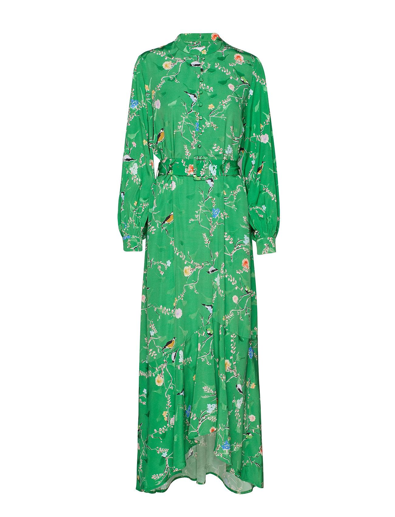 Coster Copenhagen Long dress w. belt in birdprint - BIRD PRINT