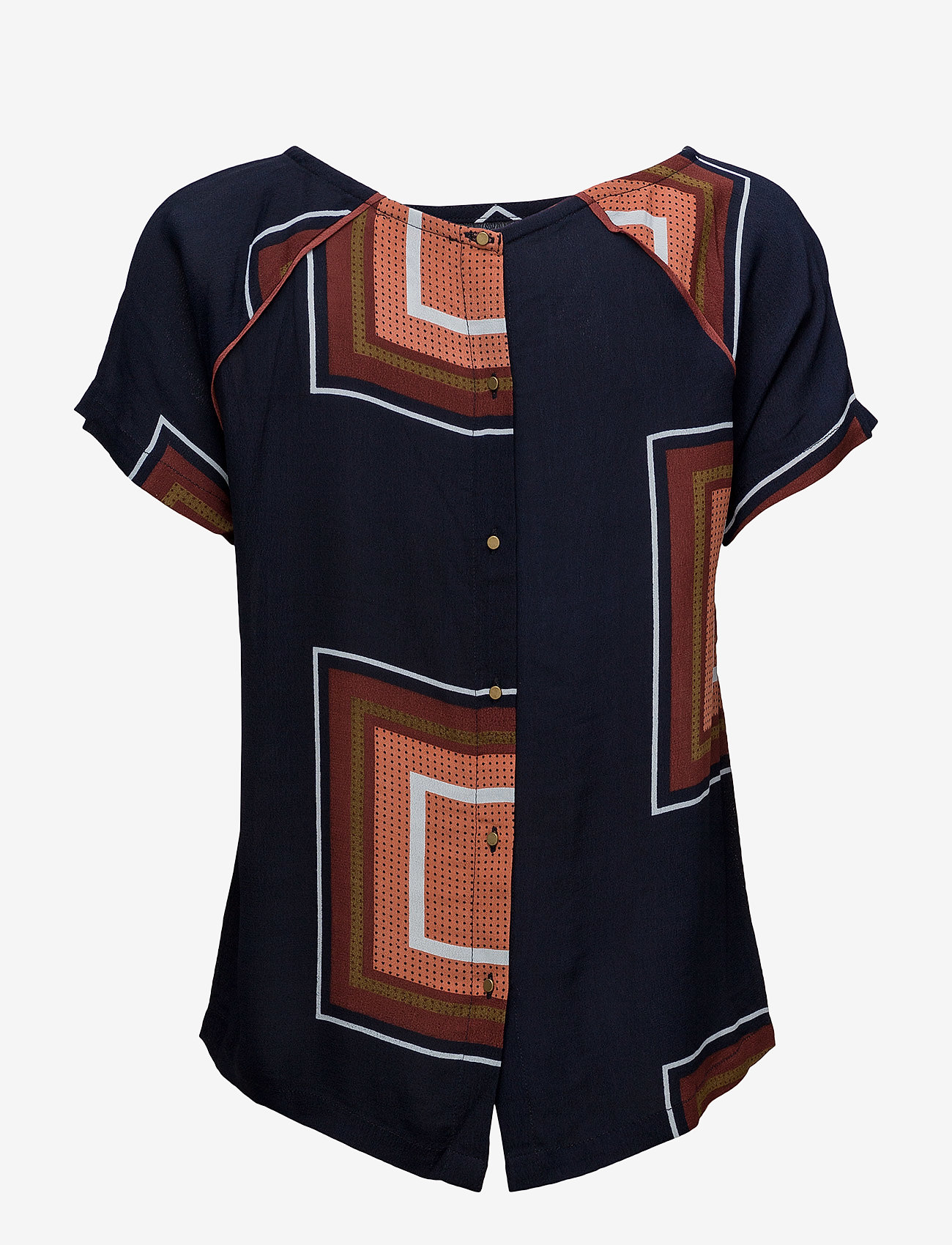 Coster Copenhagen - Square dot print top w. button back - t-shirts - square dot print darkblue