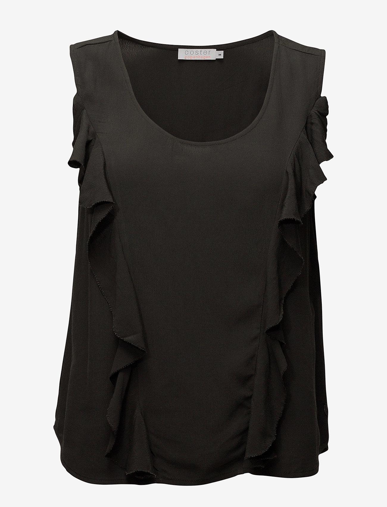 Coster Copenhagen - Top w. front ruffle - sleeveless blouses - stone green