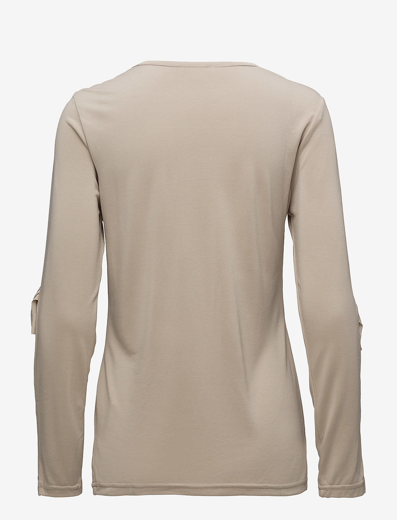 Coster Copenhagen - Long sleeve modal jersey w. ruffle - long-sleeved tops - sand