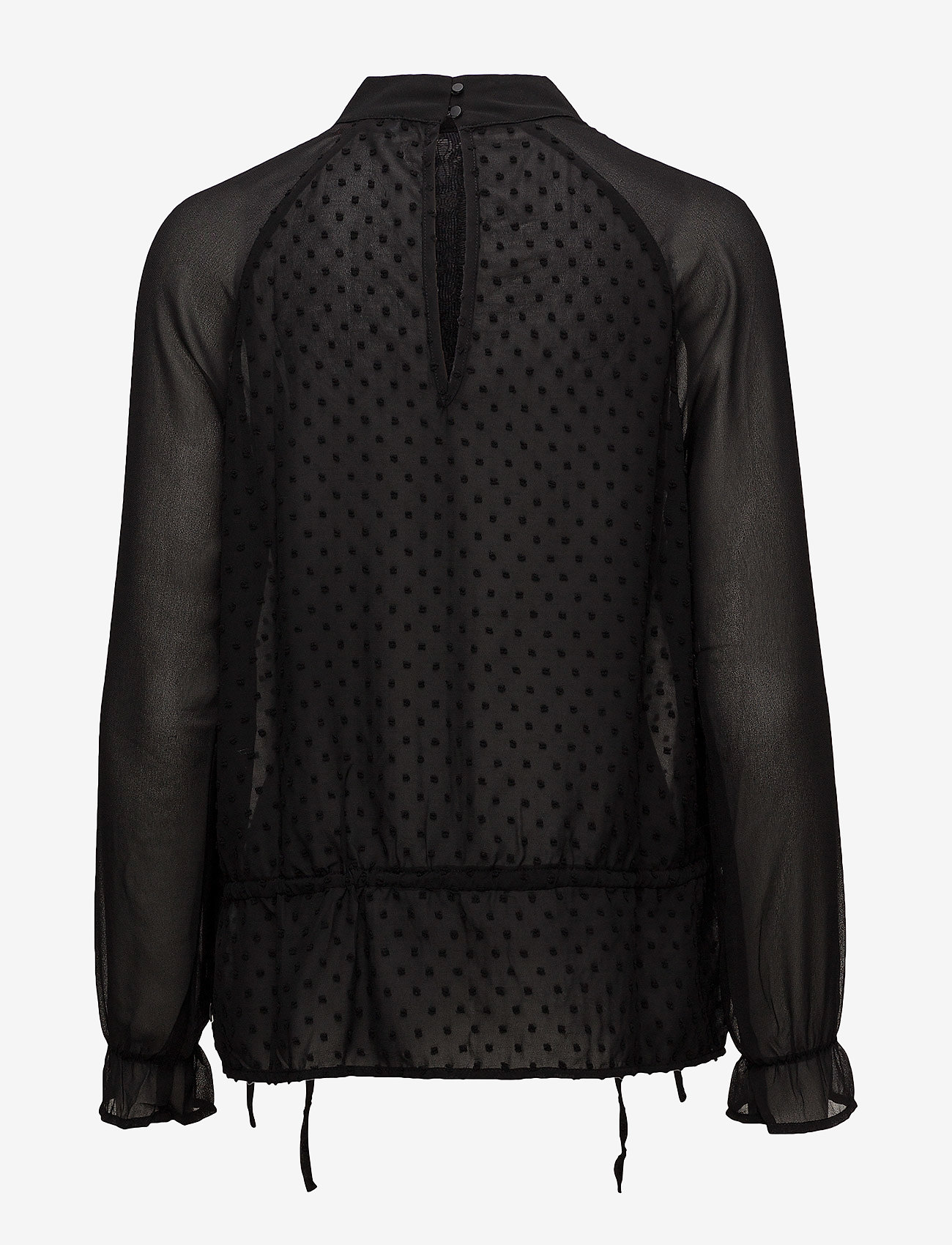 Coster Copenhagen - Top w. dot fabric and lace - long sleeved blouses - black