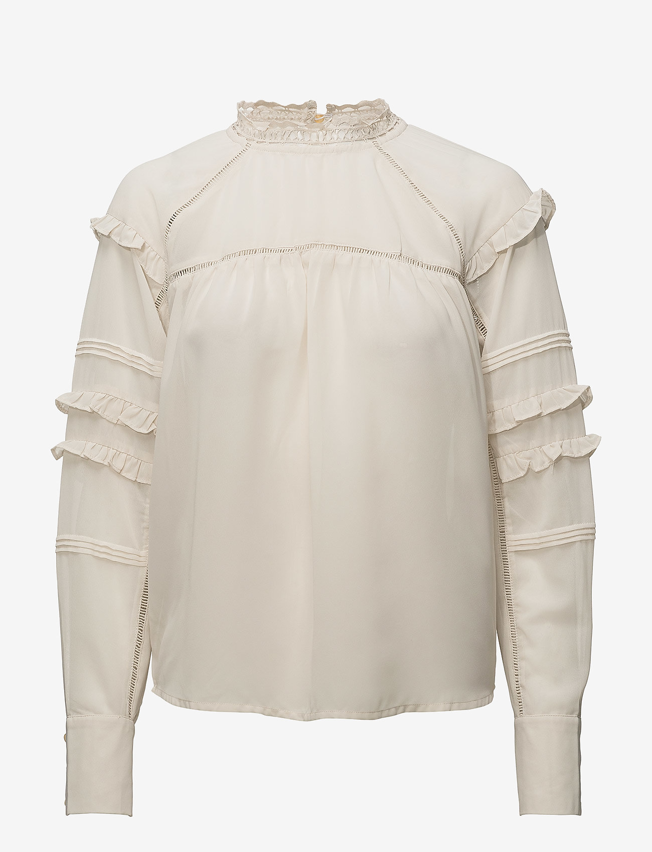Coster Copenhagen - Top w. ruffle and lace - long sleeved blouses - sand