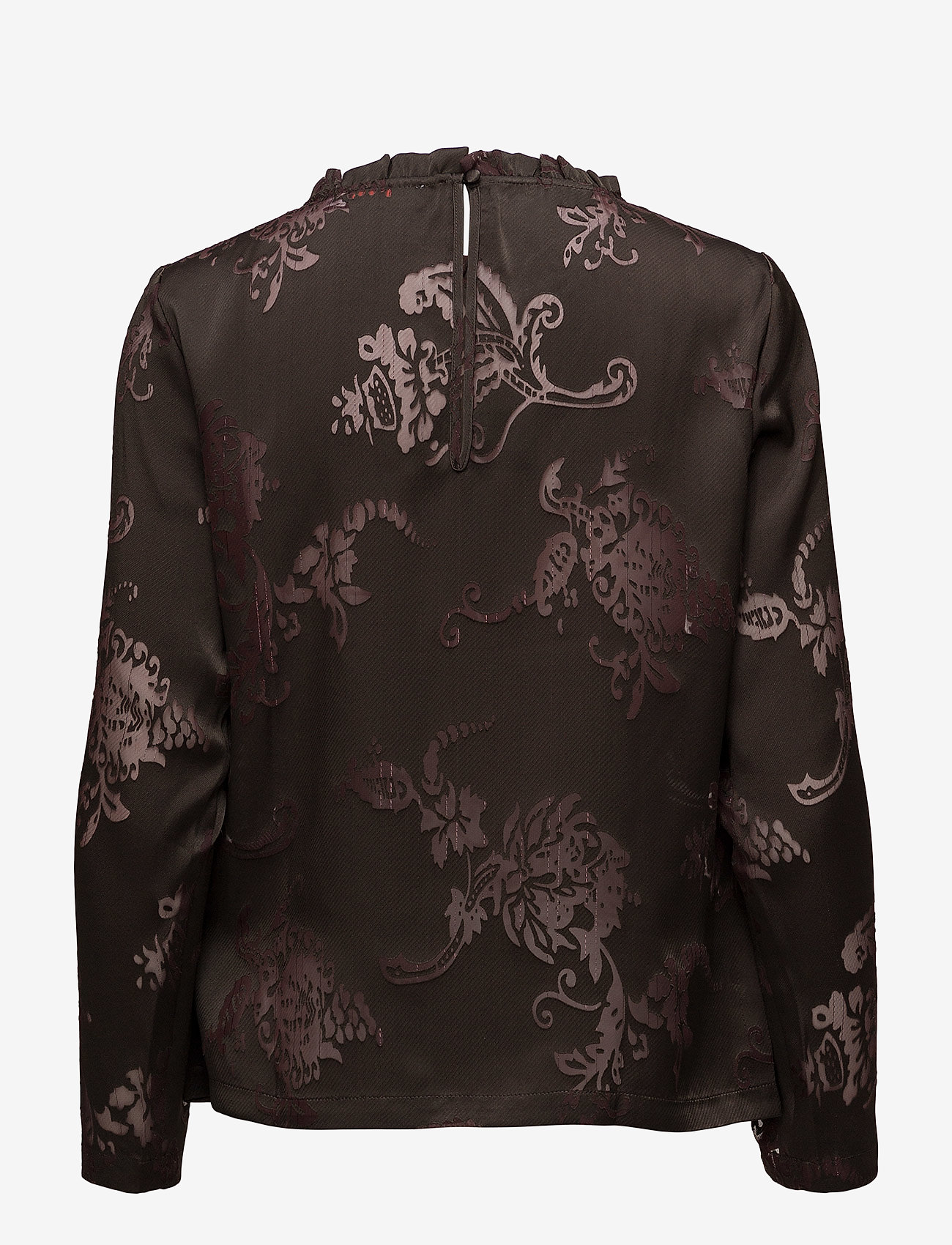 Coster Copenhagen - Top in burn-out fabric neck ruffle - long sleeved blouses - burn-out jacquard
