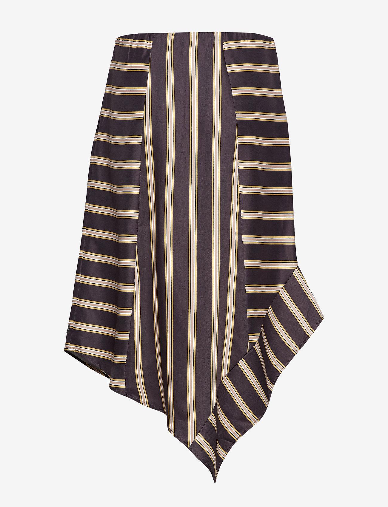 Skirt In Jacquard Stripes W. Asymme (Grey Plum Stripe) (359.70 kr) - Coster Copenhagen