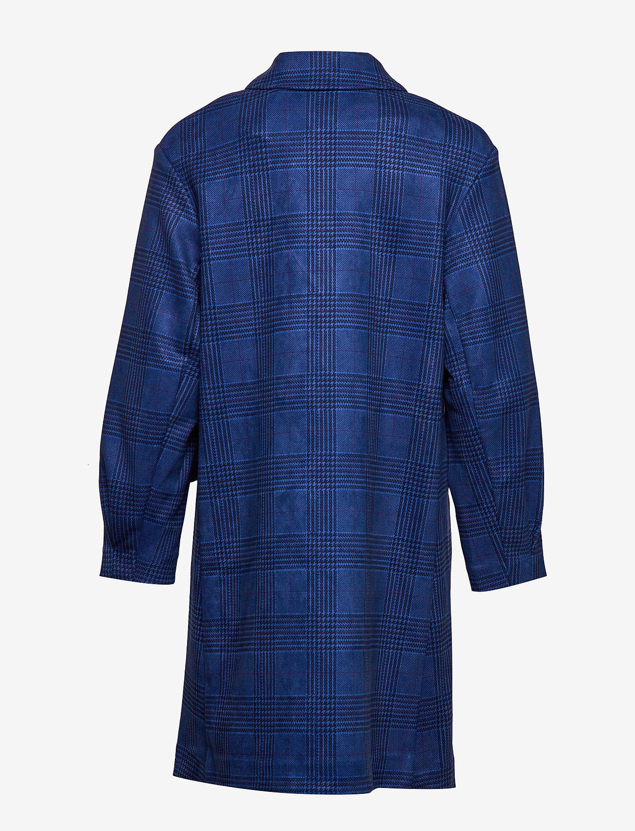 Long Jacket In Faux Suede Check (Check W. Sky Blue) (569.70 kr) - Coster Copenhagen