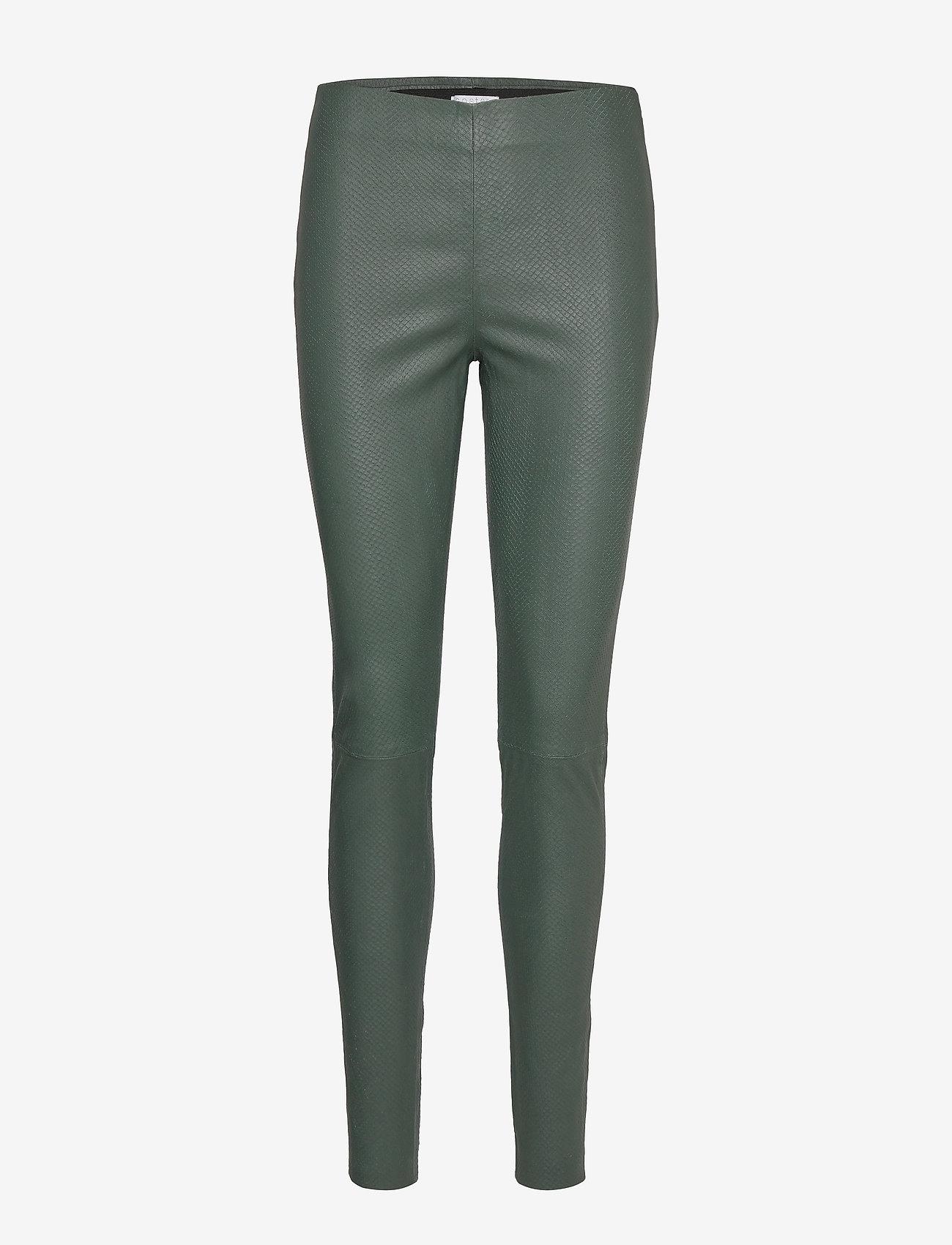 Coster Copenhagen - Leather leggings w. snake embossing - leggings - hunter green