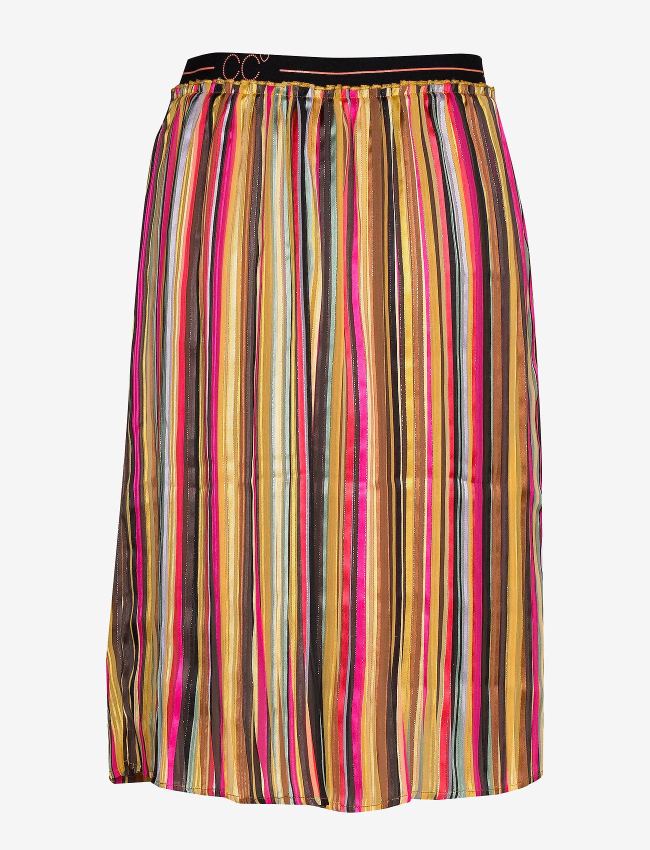 Coster Copenhagen - Skirt in plissé and multi color pri - midi - multi stripe print