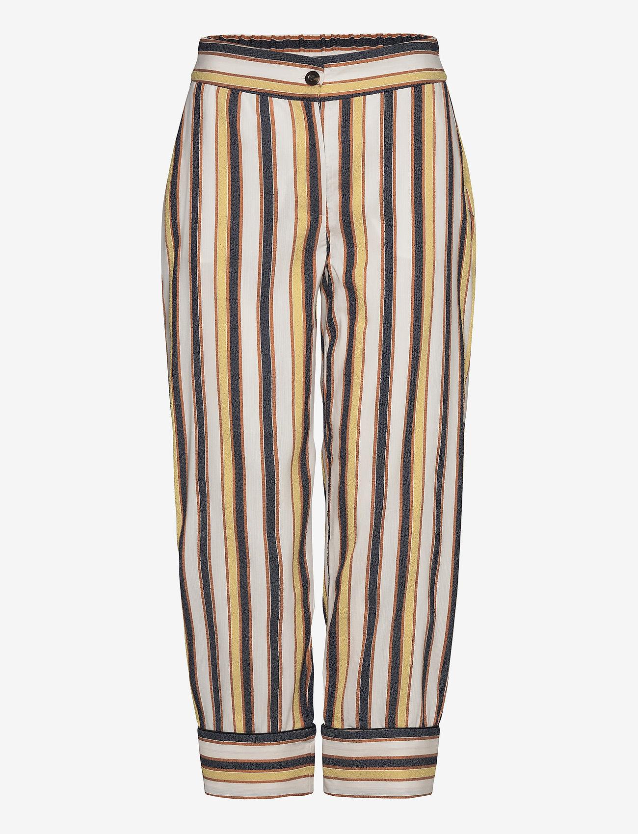 Coster Copenhagen - Pants w. piping - bukser med brede ben - desert stripe - 0