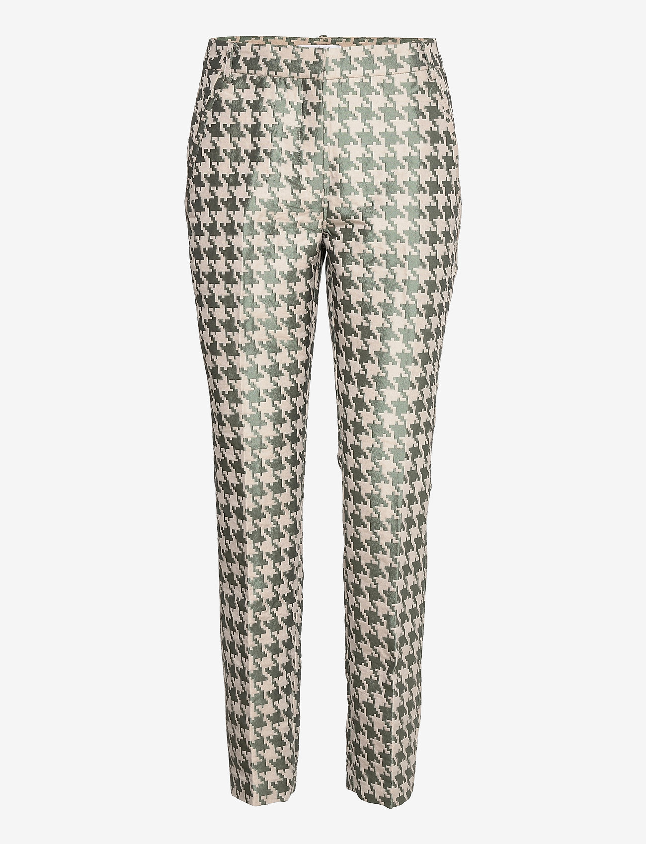 Coster Copenhagen - Pants in houndtooth jacquard LUCIA FIT - slim fit bukser - houndstooth green - 0