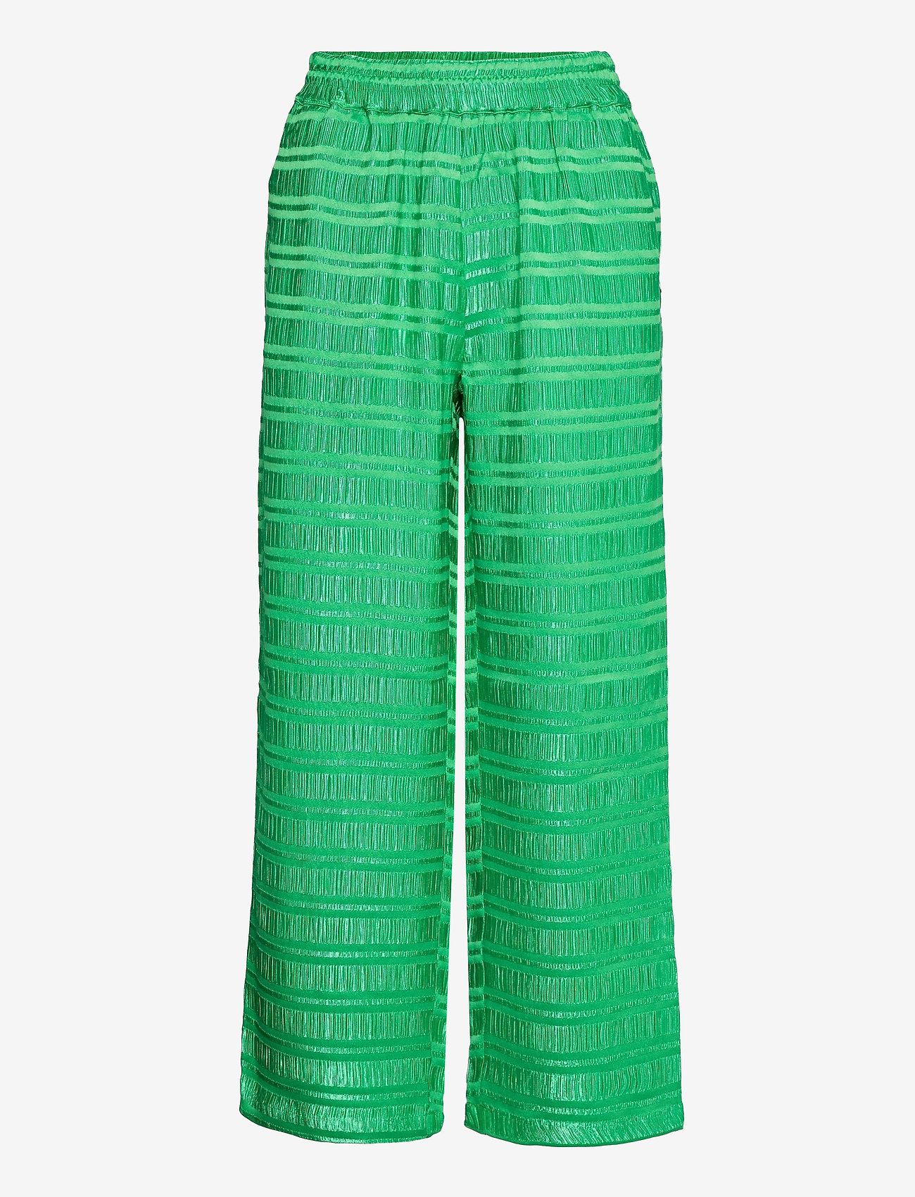 Coster Copenhagen - Pants w. elastic waist in stripe ja - bukser med brede ben - emerald green - 0