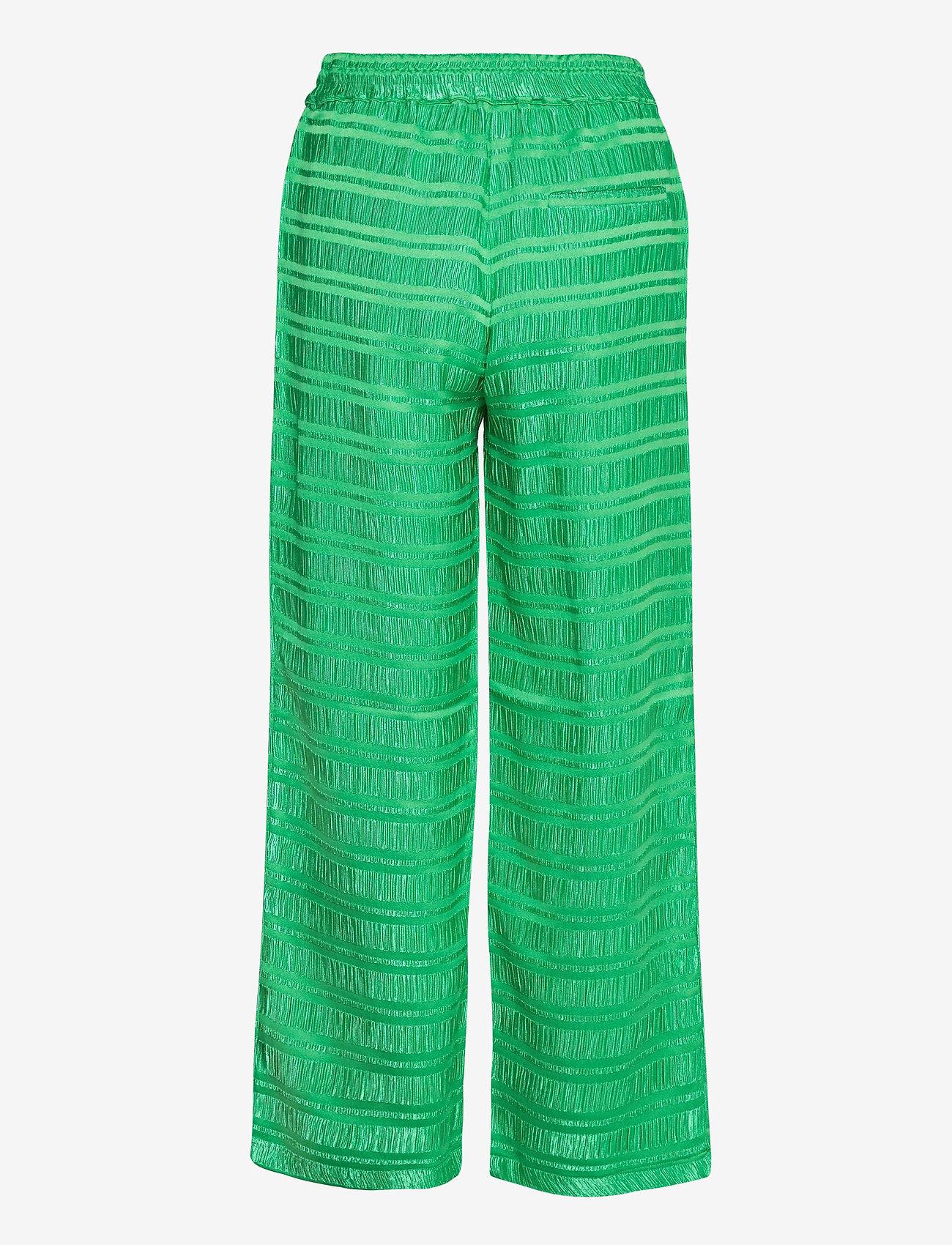 Coster Copenhagen - Pants w. elastic waist in stripe ja - bukser med brede ben - emerald green - 1