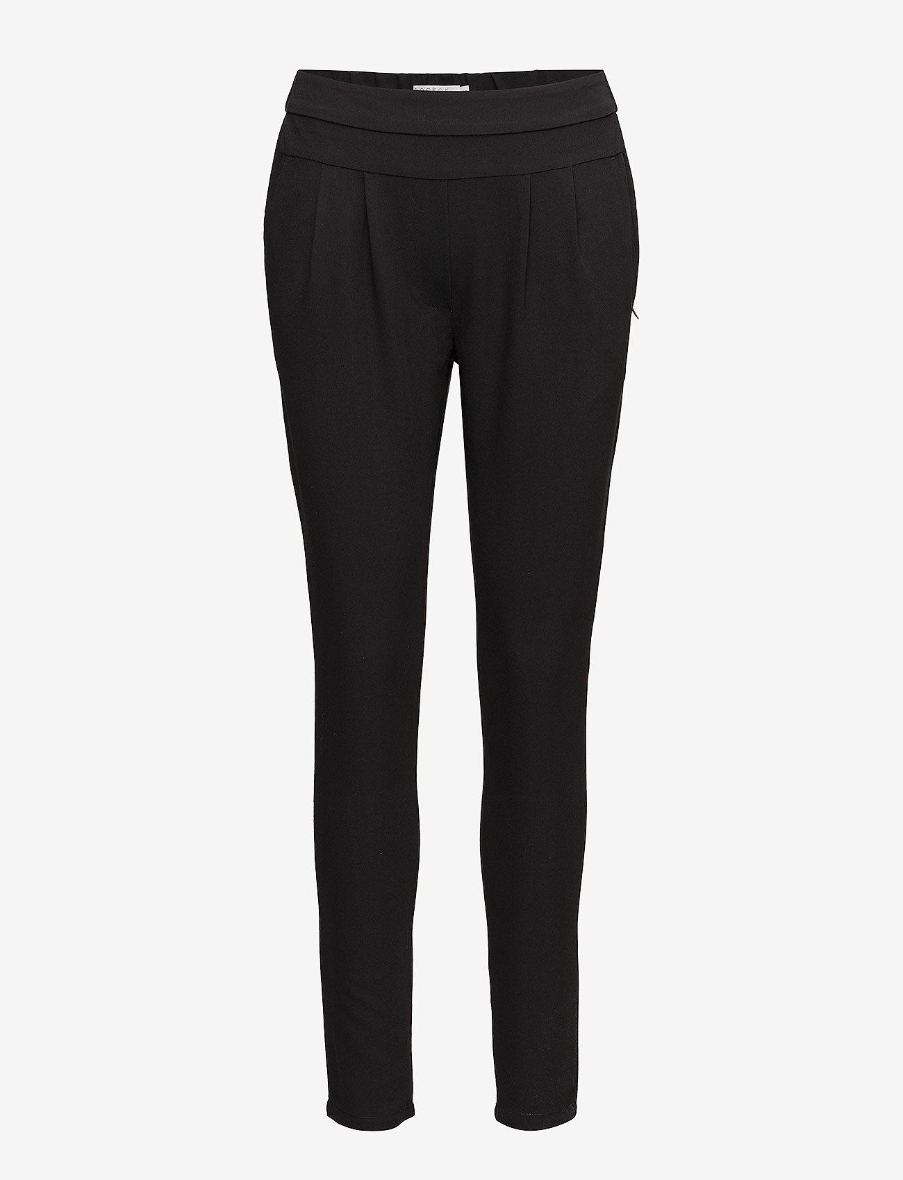Coster Copenhagen - Pants w. Jersey back - Luca - broeken med skinny fit - black - 0