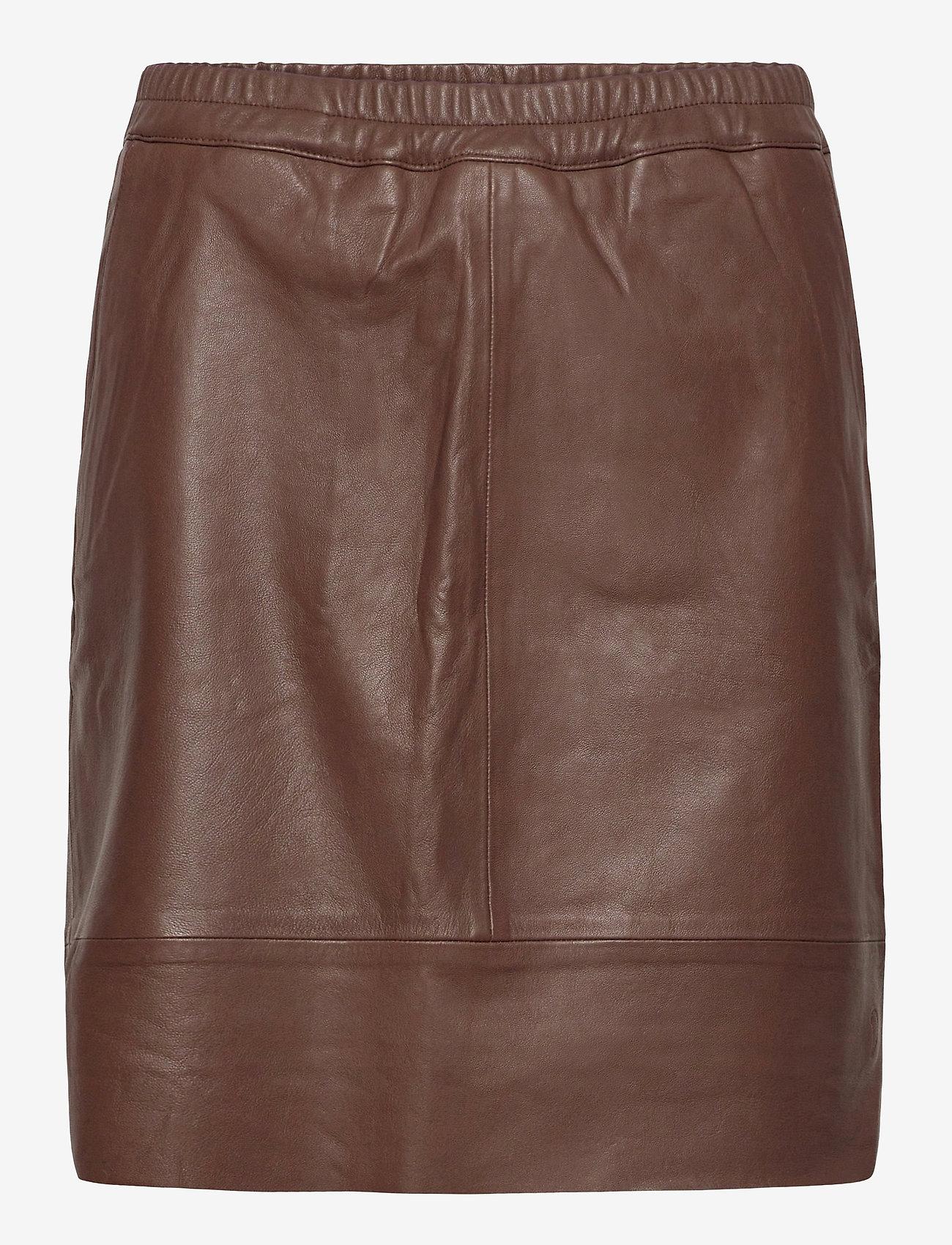 Coster Copenhagen - CC Heart leather skirt (B4514) - korta kjolar - dark brown - 0