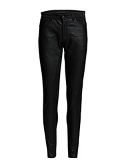 Leather pants w. fabric back - BLACK