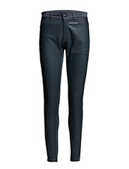 Pants w. leather front - SHADOW BLUE
