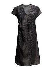 Draped dress w. snake print - SNAKE PRINT GREEN/GREY