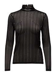 Striped lace top - BLACK