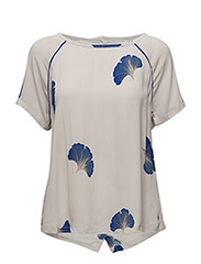 Top w. fan flower print - FAN FLOWER PRINT COBALT BLUE