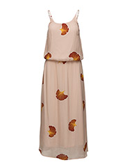 Long dress w. fan flower print - FAN FLOWER PRINT PEARL ROSE