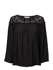 Top w. leaf fabric and wrinkel - BLACK