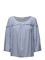 Striped ruffle top - WIDE STRIPE POWDER BLUE