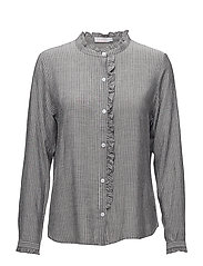 Stripe shirt w. front ruffle - WIDE STRIPE GREY