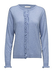 Cashmere knit cardigan w. ruffle front placket - POWDER BLUE MELANGE