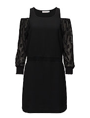 Dress w. leaf cut out sleeve - BLACK