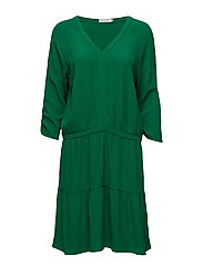 Moss crepe dress w. ruffel - GRASS GREEN