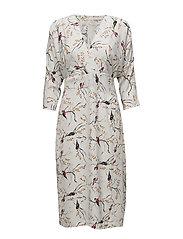 Kimono dress w. bird print - BIRD PRINT