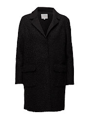 Curly long coat - BLACK