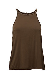 Jersey top w. lace back - DARK OLIVE