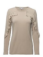Long sleeve modal jersey w. ruffle - SAND