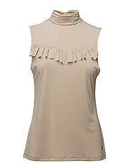 Sleeve less top w. ruffle modal jersey - SAND