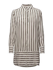 Striped long shirt - FOREST STRIPE OFF WHITE