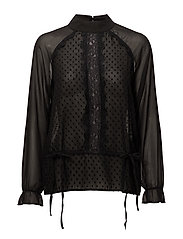 Top w. dot fabric and lace - BLACK
